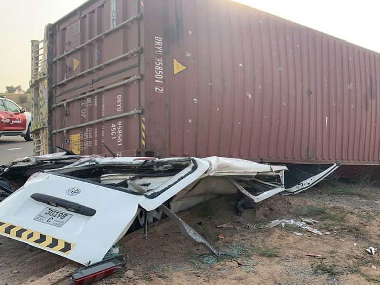 Truck-container falls on mini bus 2